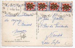 Blason Touraine X4 Sur Carte De 1952 - Postmark Collection (Covers)
