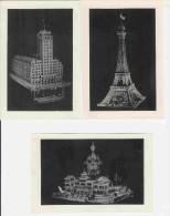 Lot De 3 Photo Sur Des Maquettes En Allumettes Réalisées Par Milo BERAL (voir Scans Des Dos) - Autres Collections