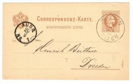RB 1078 - 1876 Austria Postal Stationery Card - Pilsen Plzen Czechoslovakia Czech Republic To Dresden Germany - Tchécoslovaquie