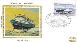 Guernsey - Inter-Island Transport - Colorano Silk FDC -  Hydrofoil - Boten