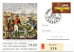 701 - TdB Karte Mit Seltener Abart - Grosse Retusche Auf 30 Rp. 100 Jahre Post