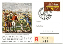 701 - TdB Karte Mit Seltener ABART - Grosse Retusche Auf 30 Rp. 100 Jahre Post - Variétés
