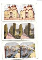 3  FOTO STEREOSCOPICA Primi\'900 : VENEZIA RIALTO , PALERMO CIMITERO CAPPUCCINI, MOSCA CREMLINO - Cartoline Stereoscopiche