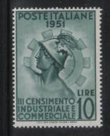 W2189 - REPUBBLICA 1951 , 10 Lire N. 675  **  MNH. Michetti. Gomma Bicolore - 6. 1946-.. Republic