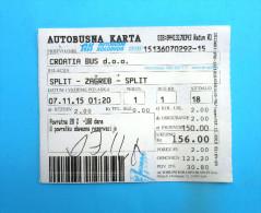 CROATIIA BUS - Return Ticket  - Intercity Transport 2015. *  Billet Biglieto Billete Autobus - Bus