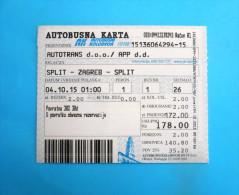AUTOTRANS - Return Ticket  - Intercity Transport 2015. *  Billet Biglieto Billete Autobus Bus - Bus