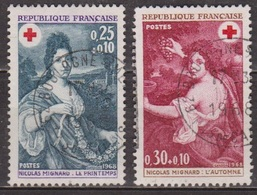 Peinture - Mignard: L'automne - FRANCE - L'Hiver - Croix Rouge - N° 1580-1581 - 1968 - Oblitérés
