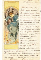 Illustrateur MUCHA Alphonse, Femme à La Robe Bleue, écrite Tres Proprement - Mucha, Alphonse