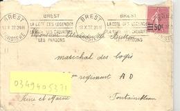 """N°224 BREST Pour FONTAINEBLEAU Du 13 X 27 Flamme """" BREST LA COTE DES LEGENDES LA RADE ....."""" - Marcophilie (Lettres)"""