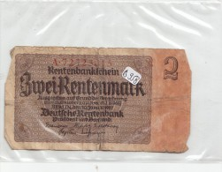 Billets - B958 -  Allemagne  - Billet  2 Rentenmark 1937 En L´état ( Type, Nature, Valeur, état... Voir 2 Scans) - Altri