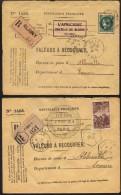 2 Lettre De Valeurs À Recouvrer; 1. Paris Apres Abbeville / Somme Et 2. Bligny Apres Abbeville / Somme , De Obliteration - Marcofilia (sobres)