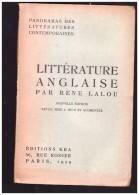 Litterature Anglaise    Par Rene Lalou  ( Livre En Francais  )  1929 - Unclassified
