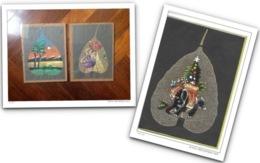 INDIA - ANNI '80 - 3 PITTURE Dipinte Su FOGLIE - Arte Asiatica
