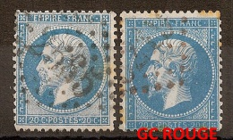 RARE GC ROUGE  Sur 20c  Napoléon III Dentelé  + GC 2565 - 1862 Napoleon III
