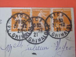 1921=> 3 TIMBRES SEMEUSE N°158 CAD NICE GRIMALDI TRES LISIBLES BIEN Frappés=>CPA NICE =>ALPES MARITIMES 06 MARCOPHILIE - 1921-1960: Période Moderne