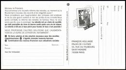 T-0145J- Carte Pétition Avec Pseudo Timbre Marianne De Beaujard. - Postal Stamped Stationery