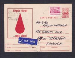 Entier Postal Roumanie + Timbre - Don Su Sang - La Multi Ani - Vers Strasbourg - Entiers Postaux