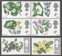 Great Britain. 1967 British Wild Flowers. MH Complete Set. SG 717-722 - Unused Stamps