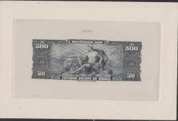 O) 1967 BRAZIL, BANKNOTE- BLACK DIE SUNKEN PROOF ENGRAVED, UNITED STATES OF BRAZIL, 500 CRUZEIROS, OPENINGG OF PORTS - Brésil