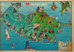MADEIRA   CARTA  GEOGRAFICA      MAXI-CARD  (VIAGGIATA) - Madeira