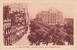 9 POSTAL DE BUENOS AIRES DE LA AVENIDA LEANDRO N. ALEM Y PALACIO DEL CORREO DEL AÑO 1929 (ARGENTINA) - Argentinië
