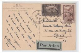 MAROC -- CARTE POSTALE OBLITERE A 1.40FR POUR PARIS -- CP 1934 -- - Maroc (1956-...)