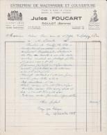 FACTURE 10 DÉCEMBRE 1968 ENTREPRISE DE MACONNERIE ET DE COUVERTURE JULES FOUCART ROLLOT SOMME - Vecchi Documenti