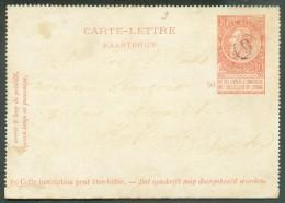 E.P. Carte-lettre 10 Centimes Fine Barbe Rouge-brun Annulé Par La Cachet De Facteur - Pas Commun. - 10870 - Postbladen