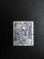 FRANCE S N° 883 S.L 138 Indice 2 Marianne De Gandon Perforé Perforés Perfins Perfin Tres Bien !! - France