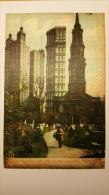 NEW YORK Saint Paul Church Park Row Building Eglise ETATS UNIS Manhattan Cpa Animee Postcard - Manhattan