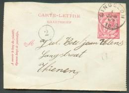 E.P. Carte-lettre 10 Centimes Emission 1884 Obl. Par La Cachet Sc De GINGELOM 4 Juiin 1892 + Boîte L Vers Tienen - 10882 - Postbladen