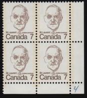 "CANADA - Scott #592 Louis St. Laurent (3) / Mint NH Plate Block ""LR"" (pb1090) - Blocks & Sheetlets"
