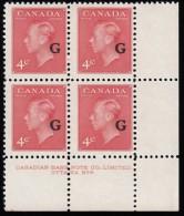 "CANADA - Scott #O19 George VI ""Overprinted"" / Mint NH Pl Block ""LR"" (pb1265) - Blocks & Sheetlets"