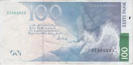BILLETE DE ESTONIA DE 100 KROONI DEL AÑO 2007 SERIE ZZ (BANK NOTE) REPLACEMENT - Estonia
