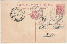 Malta: Postcard From Augusta, Italy To Valletta, 10-11 January 1913 - Malta (...-1964)