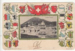 Switzerland: Flags Postcard From Ponte-Tresa To Valletta, Malta, 10-13 July 1905 - Switzerland