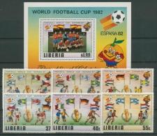 Liberia 1981 Fußball-WM Spanien 1187/92 Block 96 Postfrisch (G22182) - Liberia