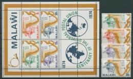 Malawi 1974 100 Jahre Weltpostverein UPU 216/19 Block 36 Postfrisch (G22185) - Malawi (1964-...)
