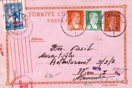 TÜRKEI 1942 - 3 K Ganzsache + 3 Fach Zusatzfrankierung Auf Pk, Rote Zensur, Gel.v.Heybeliada? Nach Wien - 1921-... Republik