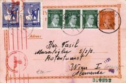 TÜRKEI 1942 - 3 K Ganzsache + 5 Fach Zusatzfrankierung Auf Pk, Rote Zensur, Gel.v.Heybeliada? Nach Wien - 1921-... Republik