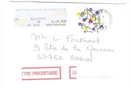 Lettre De RUSSEY , Doubs Avec Timbre Mode / Fashion  COEUR / Heart JC De CASTELBAJAC , Double Port , 2015, TB - Textile