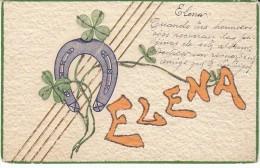 'Elena' Large Letter First Name, Horse Shoe Luck Symbol, C1900s/10s Vintage Embossed Postcard - Firstnames
