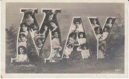 'May' Large Letter First Name, C1900s Vintage Postcard - Prénoms