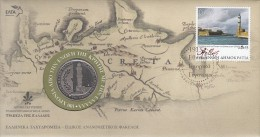 Greece - FDC, 100 Years Of The Unification Of Crete With Greece, 12/13, With Medal, Unused - FDC