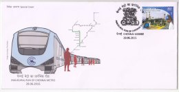 Inaugural Run Of Chennai Metro Train, Chariot, Transport, Cover 2015 - Trains