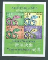 Aitutaki 2013 Chinese New Year Of The Snake Miniature Sheet Of 4 Values MNH - Aitutaki