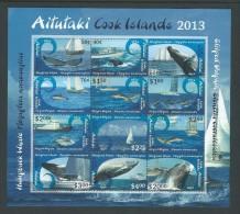 Aitutaki 2013 Whale & Dolphin Series II Sheet Of 12 Values MNH - Aitutaki
