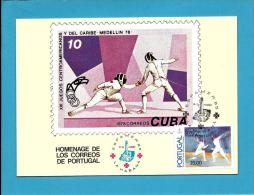 LA HABANA - ESPAMER' 85 - Homenage Do Los Correos De Portugal -  BPE - 5 - CUBA - Carte Maximum Card Maxicard - Cartes-maximum (CM)