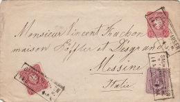 1875- Entier + Timbre Pfennige Sachsenhausen >> Messine (Sicile) - Briefe U. Dokumente