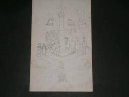 PERRON DE LIEGE AEC TCHANTCHES ET NANESSE - DEVISE BELGE AVANT TOUT -Dessin Au Crayon Non Signé - Autres Collections